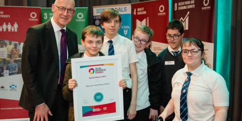 Scottish pupils receive national social enterprise award from Deputy First Minister